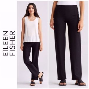 Eileen Fisher High Rise Straight Crepe Pants Large